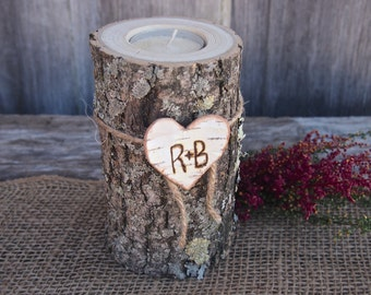 Personalized WOODEN Candle Holder - Wood - Rustic Country Wedding - Brown - White Birch Heart