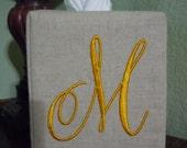 Monogrammed Essex Natural Linen Tissue Box Cover -  Harper Monogram  M