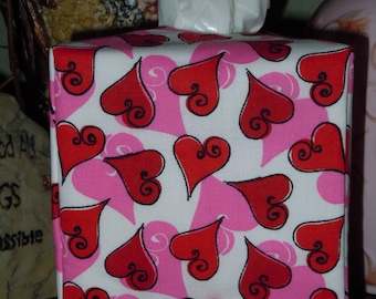 Ready To Ship - Valentine Hearts Pattern - Fabric Tissue Box Cover