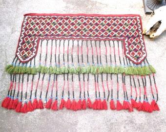 Vintage Carpet Decorative Ethnic Woven Carpet Boho Gypsy Textile Window Topper Tribal Antique Door Hanging Antique Kilim Rug