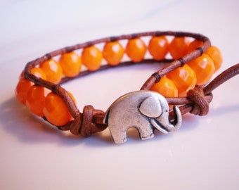 Orange Bracelet Elephant Bracelet Elephant Jewelry