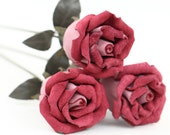 3 mauve leather rose bud bouquet third Anniversary wedding gift Long Stem leather Flower Valentines 3rd Leather Anniversary Mother's Day