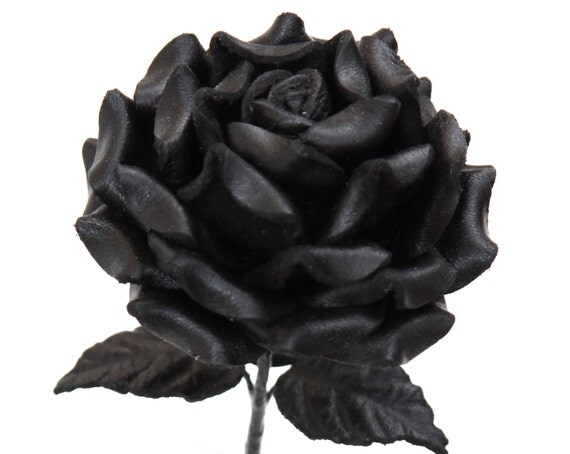 Black Leather Rose third Anniversary wedding gift Long Stem leather flower Valentine's Day 3rd Leather Anniversary Valentine Gothic Wedding