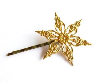 Gold Star Hair Pin Star Hair Clip Star Bobby Pin Star Hair Accessories Winter Wedding Bridal Hair Accessories Winter Bride Winter Bridesmaid