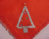 Vintage Set Of Eight Rhinestone Accented Christmas Tree Napkins   14 - 95