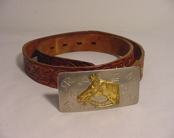 Vintage Cowboy Cowgirl Horse Head Buckle And  Leather Belt   14 - 101
