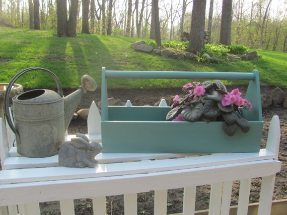 wood tool box tote green wooden garden caddy by