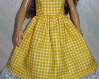 Handmade clothes for doll such as Lammily- yellow check dress with lace trim