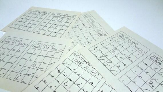 Rare Bingo Cards - Collection of 5 Shorthand Bingo Cards