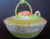 Coiled Fabric Basket, Spring Dreams, Coiled Clothesline Basket, basket with lid