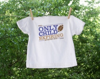 Only Child Expiring Football with Due Date Shirt - Red & Blue