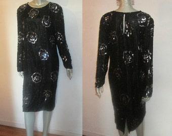 Vintage Swee Lo NWT Unworn Silver Sequins Black Beads Embellish Long Puff Sleeve Back Keyhole Below Knee Lined Slouchy Flapper Silk Dress M