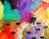 """Hopscotch 8""""x8"""" original abstract bright mixed media painting"""