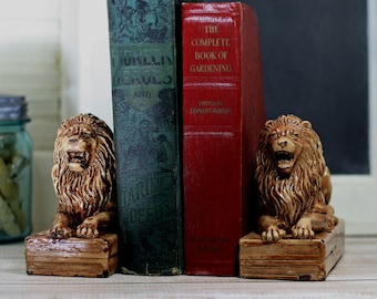 Vintage Bookends Heavy Ceramic Lions