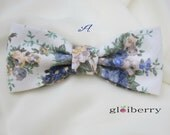 Cream Shabby Chic Floral Clip-On Bow Tie Dusty Misty Blue Men Teen Boy Baby Toddler Kid Children Pre Tied Party Gift Wedding Groom Groomsmen