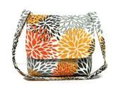 Fabric Cross Body Purse, Small Pocketbook, Cotton Purse, Women's Messenger Bag, Premier Prints Blooms Slub Chili Pepper, Gray Orange Bag