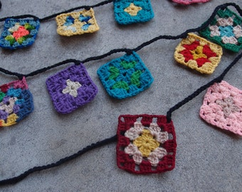 Handmade Banner Garland Bunting Recycled Crocheted Afghan Granny Squares Multicolored Black Home Decor MADE TO ORDER