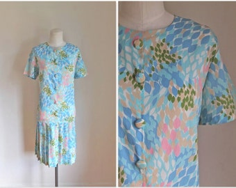 75% OFF...last call // vintage 1960s day dress - FALLING BLOSSOMS drop waist dress / L