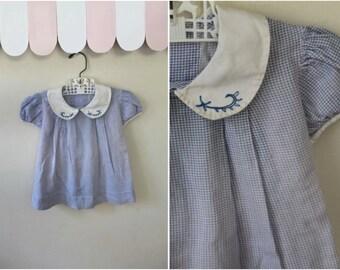 vintage 1930s toddler dress - BLUE JAY blue gingham cotton frock / 3T
