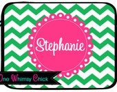 Monogrammed Laptop Case, Pink Green Chevron, Macbook, iPad Sleeve
