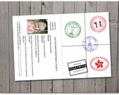 Passport Stamps - Brazil, Hollywood, France, Hong Kong, New York - printable instant download - Custom passport - Template - Digital Print
