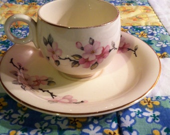 Vintage Homer Laughlin Tea Cup Set Dainty Pink Floral Eggshell Made in The USA