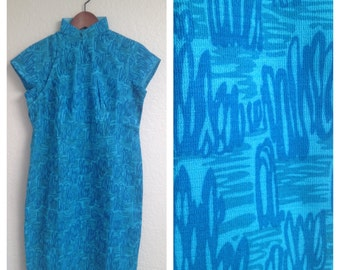 Vintage teal squiggles qipao size S