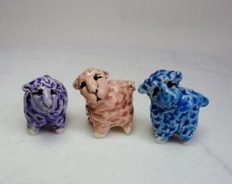 Spring Sheep Terrarium Miniature - Handmade Sheep Figurines - Purple Pink and Blue - Spring Sheep - Easter Lambs -set of 3 - studio choice