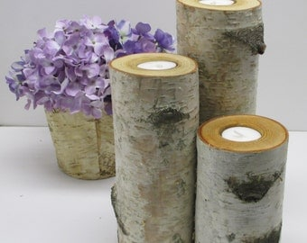 "Birch Log Tea Light Candle Holders 10"",8"",6"" Wedding Centerpieces Reception Gift Table Home Decor"