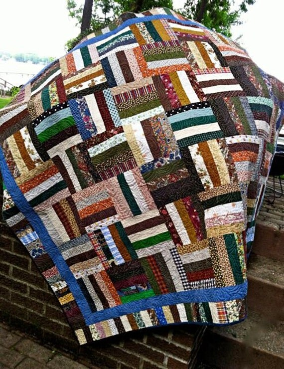 Quilted Scrappy Rail Fence Patchwork Lap Quilt by ...