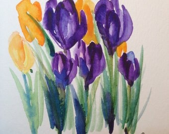 Crocus Watercolor Card