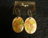 Vintage Boho 1970s Enamel and Copper Earrings by Inga