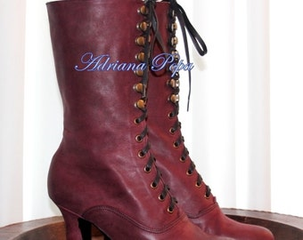 Victorian Boots in Burgundy leather Edwardian Boots in dark Marsala Reddish colour Urban Ankle Boots