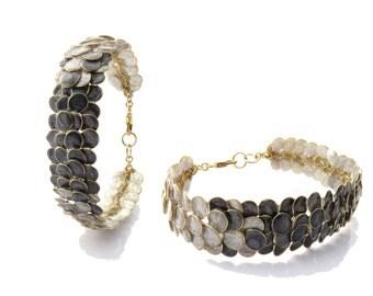 Enamel Bracelet, Grey Artisan Handmade Bracelet, Chic Bracelet, Fashion Bracelet, Unique Bracelet, Woman Gift, Modern Fashion Israel Jewelry