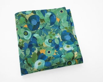 Men's Floral Pocket Square in blues and greens
