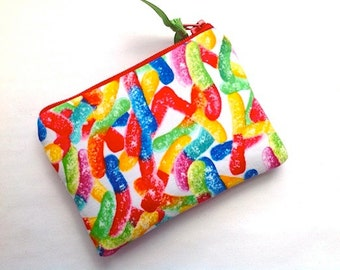 Gummy Worms, Small Padded Handmade Zipper Pouch, Card Case, Coin Purse, Small Camera Bag- Candy, White Red Yellow NEW