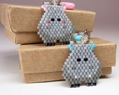 Kawaii Hippo Keychain Charm, Seed Bead Animal, Couple Gift