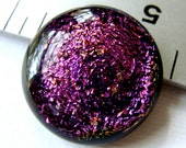 Fused Dichroic Glass Cabochon 18 mm Magenta Pink