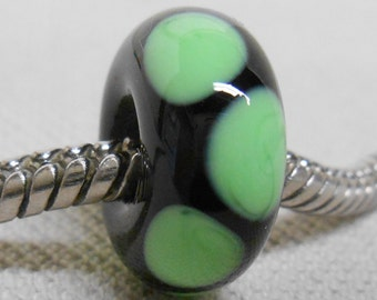 Handmade Lampwork Bead Large Hole European Charm Bead Black with Green Dots