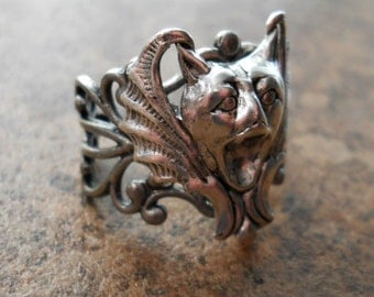 Screaming Gargoyle Gothic Steampunk Ring in Antiqued Silver