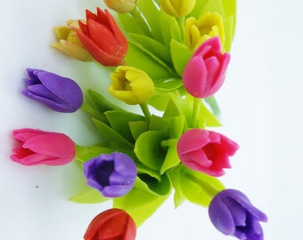 Miniature Polymer Clay Flowers Supplies Tulip with leaves 16 stems
