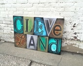 Cleveland No. 63 Large Block Lettering Painting on Canvas 24 x 36