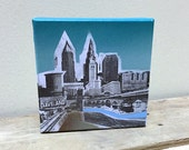 Super Small Cleveland Painting 5 x 5 No. 06 on Canvas