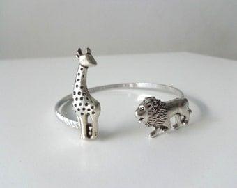 Giraffe lion wrap bracelet cuff, animal bracelet, charm bracelet, bangle
