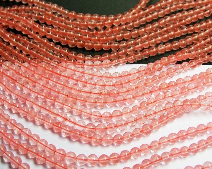 Cherry quartz 4 mm round - A quality - 95 beads per strand -  RFG122