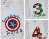 Avengers Girls or Boys Birthday Shirt with Thor, Captain America, Spider Man, Hulk, Iron Man Inspired FREE Name & Number