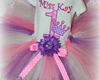 Girls Birthday PRINCESS CROWN 3 Piece Tutu Outfit Purple & Pink 1st First with Bodysuit or Shirt, TuTu and Hair Piece Pick Size and Colors