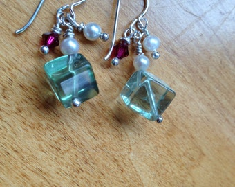 FLUORITE, VALENTINES GIFT,Earrings, Flourite Cubes, Large, Freshwater Pearls, Swarovski,