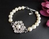 Bridal Wedding Bracelet,Pearl Bracelet,Wedding Pearl Bracelet,Ivory or White Pearls,Pearl and Rhinestone Bracelet,Bridal Cuff,Pearl, EUGENIE