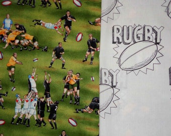 2 yds total/1 yd Rugby All Blacks of New Zealand Fabric and 1 Yard White Rugby Ball Fabric * 2 Yards Total